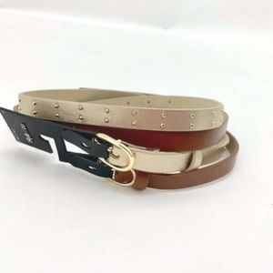 "4/$25 NEW 2 Brown Gold Skinny Belt Small 1/2"" Wide"